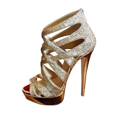 Gold Evening Shoes Glitter Open Toe Strappy High Heel Party Shoes Women Sandal Shoes for sale near me #32840812352
