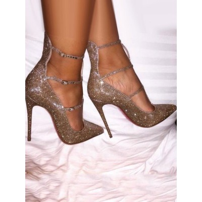 Gold Glitter Prom Sparkly Pumps Pointed Toe Stiletto High Heels Fitted #32860730008