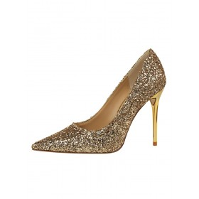 Gold High Heels Sparkly Prom Shoes Pointed Toe Pumps on style #32860764636