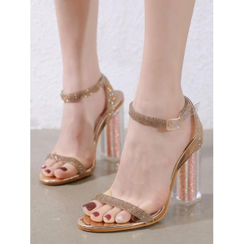 Heel Sandals Blond Chunky Heel Square Toe Sequined Cloth Ankle Strap Heels Trends #113240953674