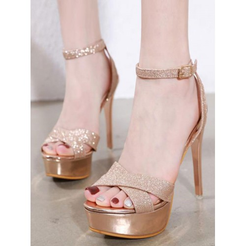 Heel Sandals Blond Stiletto Heel Square Toe PU Leather Ankle Strap Heels Hot #113240952354