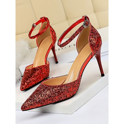 Heel Sandals Red Stiletto Heel Pointed Toe Sequined Cloth Ankle Strap Heels #113240951296