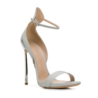 Heel Sandals Sandals Silver Goblet Heel Round Toe Sequined Cloth Recommendations #113240948190