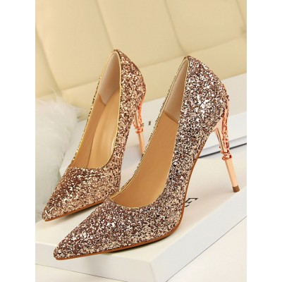High Heel Party Shoes Champagne Pointed Toe Sequins Evening Shoes Stiletto Heels Designer Sale #32860952730