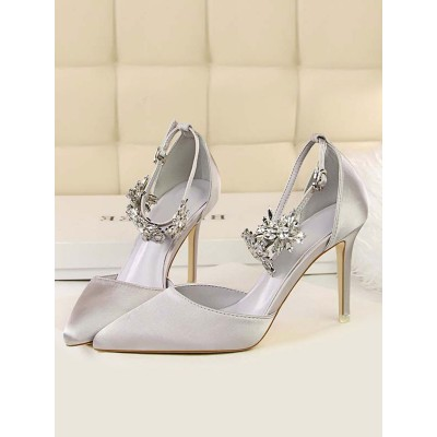 High Heel Party Shoes Silver Pointed Toe Rhinestones Evening Shoes On Sale #32860906660
