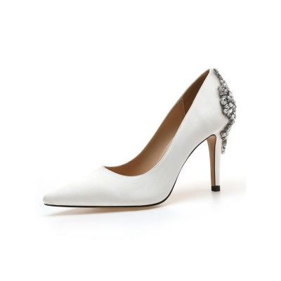 High Heel Party Shoes White Pointed Toe Rhinestones Evening Shoes Recommendations #32860907252