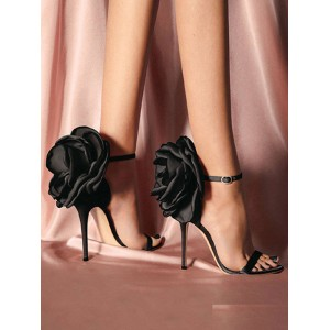 High Heel Sandals Black PU Leather Open Toe Flowers Evening shoes Women Party Shoes #32840948202