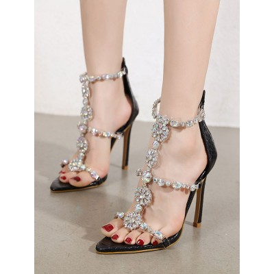 High Heel Sandals Black PU Leather Open Toe Rhinestones Evening Shoes Party Stiletto Heels on style #32840953312