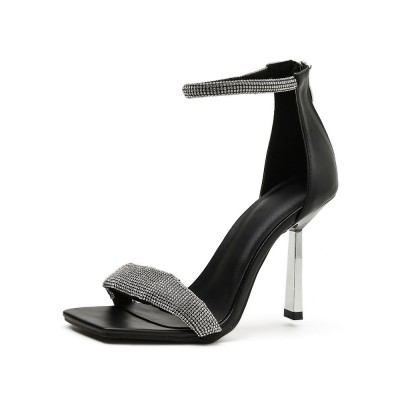 High Heel Sandals Black PU Leather Square Toe Rhinestones Ankle Strap Evening Shoes Party Shoes Casual #32840956938