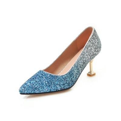 Kitten Heel Pumps Blue Pointed Toe Slip On Shoes Women Party Shoes online shopping #32860845416