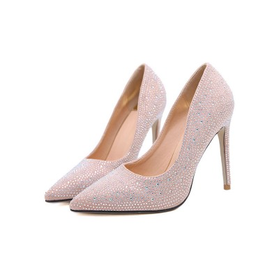 Pink Evening Shoes Suede Pointed Toe Rhinestones Slip On Pumps High Heel Party Shoes Design #32860829480