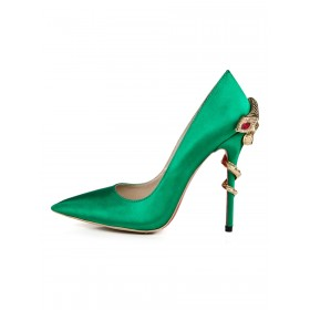 Satin Evening Shoes Women Pointed Toe Metal Detail High Heel Party Shoes Best #32860842944