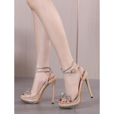 Sexy High Heel Sandals Apricot PU Leather Open Toe Lace Up Rhinestones Sexy Heeled Sandals In Store #12400942088