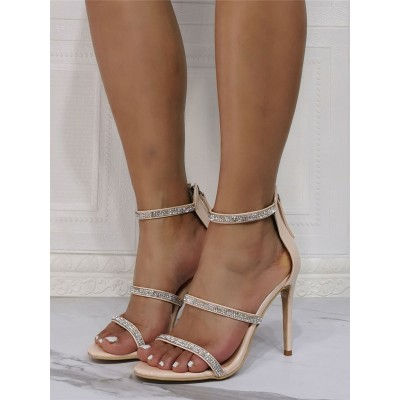 Sexy Sandals For Woman Apricot Patent PU Upper Open Toe Stiletto Heel Rhinestones Sky High Sexy Ankle Strap Heels in new look #12400943162