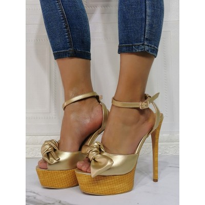 Sexy Sandals For Woman Light Gold PU Leather Open Toe Stiletto Heel Sexy Heeled Sandals wholesale #12400940618