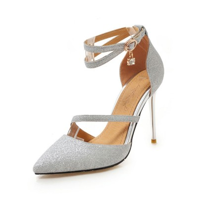 Silver High Heels Glitter Pointed Toe Ankle Strap Prom Shoes Women Evening Shoes sale next #32860842696