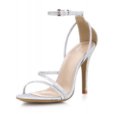 Silver Prom Heels Glitter Strappy Sandals Wedding Shoes sale online #32840567687