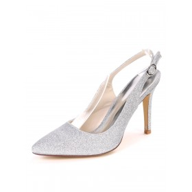 Slingback Silver Prom Shoes Glitter High Heels Pointed Toe Party Shoes on sale near me #32860885586