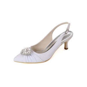 Wedding Shoes White Sequined Cloth Buckle Pointed Toe Kitten Heel Back Slip Bridal Shoes Shop #05790902892