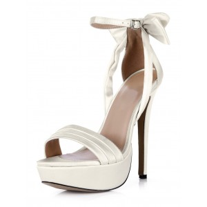 White Buckle Open Toe Imitated Silk Beautiful Evening and Brides Sandals comfortable #32840430769