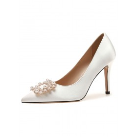Women Evening Shoes White Pointed Toe Pearls Satin Party Shoes Recommendations #32860918012