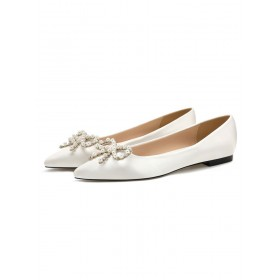 Women's Ballet Flats White Satin Pointed Toe Pearls Flat Slip On Shoes in style #06260924350