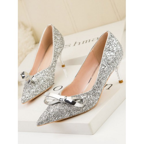 Womens High Heel Party Shoes Silver Pointed Toe Stiletto Heel Bows Evening Shoes Online Wholesale #32860937210
