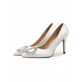 Women's High Heel Party Shoes White Pointed Toe Metal Details Evening Shoes sale next #32860924336