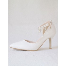 Women's High Heel Sandals White Leather Pointed Toe Metal Details Evening Shoes Women Party Shoes high quality #32840926342