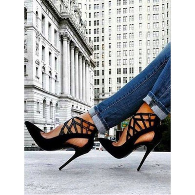 Black Chic High Heels Strappy Pointed Toe Stiletto Heel Pumps Cost #23600730010