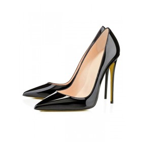Black High Heels Dress Shoes Pointed Toe Patent Leather Stilettos Pumps The Most Popular #23700468605