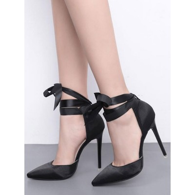 Black High Heels Satin Pointed Toe Lace Up Pumps Women Party Shoes Cheap #23600813756