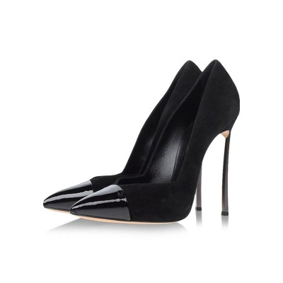 Black High Heels Suede Pointed Toe Stiletto Heel Pumps For Women Clearance #23600816438