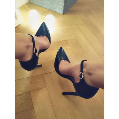 Black High Heels Women Pointed Toe Buckle Detail Stiletto Heel Pumps Sexy Shoes The Most Popular #23600829848