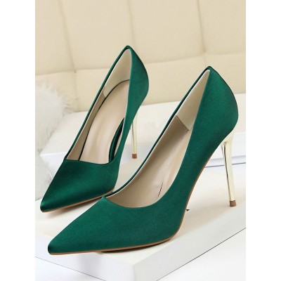 Black Satin Dress Shoes Pointed Toe Stiletto Heel Party Shoes Women High Heel Pumps #23600813178