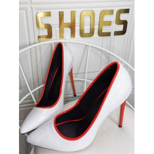 Plus Size High Heels For Women Pointed Toe Stiletto Heel Patent PU Leather Fashion White Heels for sale near me #23600939170