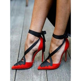 Red Sexy High Heels Pointed Toe Lace Up Pumps for Women comfortable #23600803218