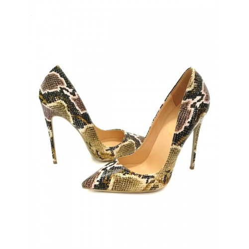 Snakeskin Stiletto High Heels Pointed Toe Pumps for Women Trends #23600752210