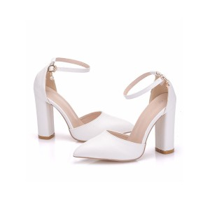 White Heel Sandals For Women Chunky Heel Pointed Toe PU Leather Sexy Ankle Strap Heels #113240943132
