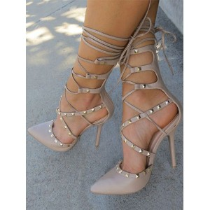 Women High Heels Apricot Pointed Toe Rivets Lace Up Pumps #23600829846