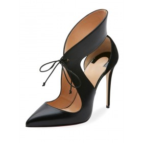 Women's Black High Heels Pointed Toe Lace Up Cut Out Stiletto Heel Pumps #23600722034