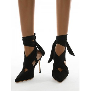 Women's Black High Heels Pointed Toe Lace Up Stiletto Heel Strappy Pumps Casual #23600928736