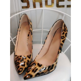 Womens Coffee Brown Pumps Stiletto Heel Pointed Toe Leopard Printed Patent PU Casual Sexy Heels on sale near me #23600938950