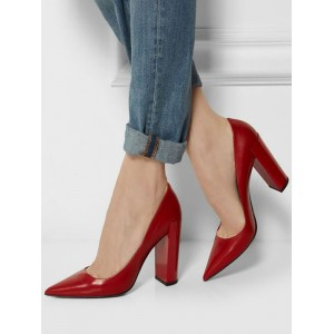 Women's High Heels Basic Pointed Toe Chunky Heel Pumps In Red Regular #23600895578