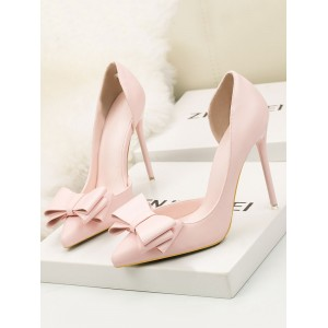 Womens Pink High Heels Pointed Toe Stiletto Heel Pumps With Bow #23600938386