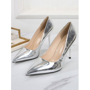 Womens Plus Size Pumps Pointed Toe Stiletto Heel Elegant PU Leather Sliver Sexy Heels hot topic #23600939650
