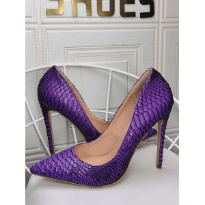Womens Purple Pumps Stiletto Heel Pointed Toe PU Leather Casual High Heels on sale online #23600938952