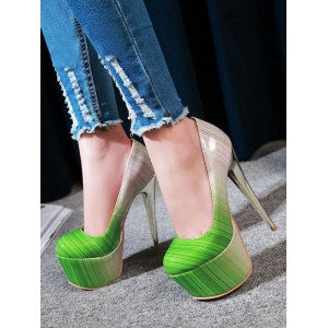 Women Sexy High Heels Green Round Toe Sexy Shoes #12390911724