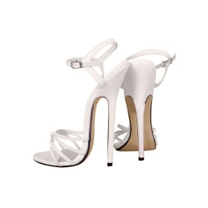 6 3/10'' High Heel Patent Ankle Straps Sandals Fitted #06180020279