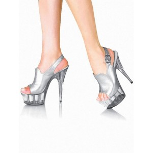 Sexy Sandals For Woman Silver PU Leather Open Toe Cone Heel Slingback Heels Stripper Shoes Boutique #12400956358